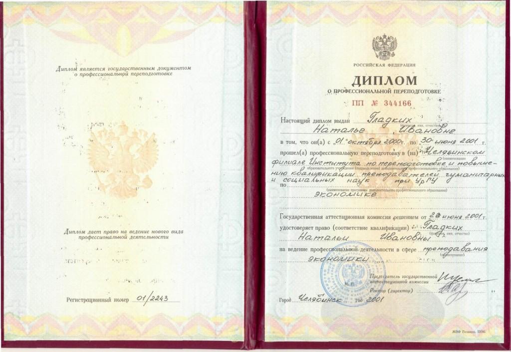 Диплом о проф. переподготовке НИ, 2001